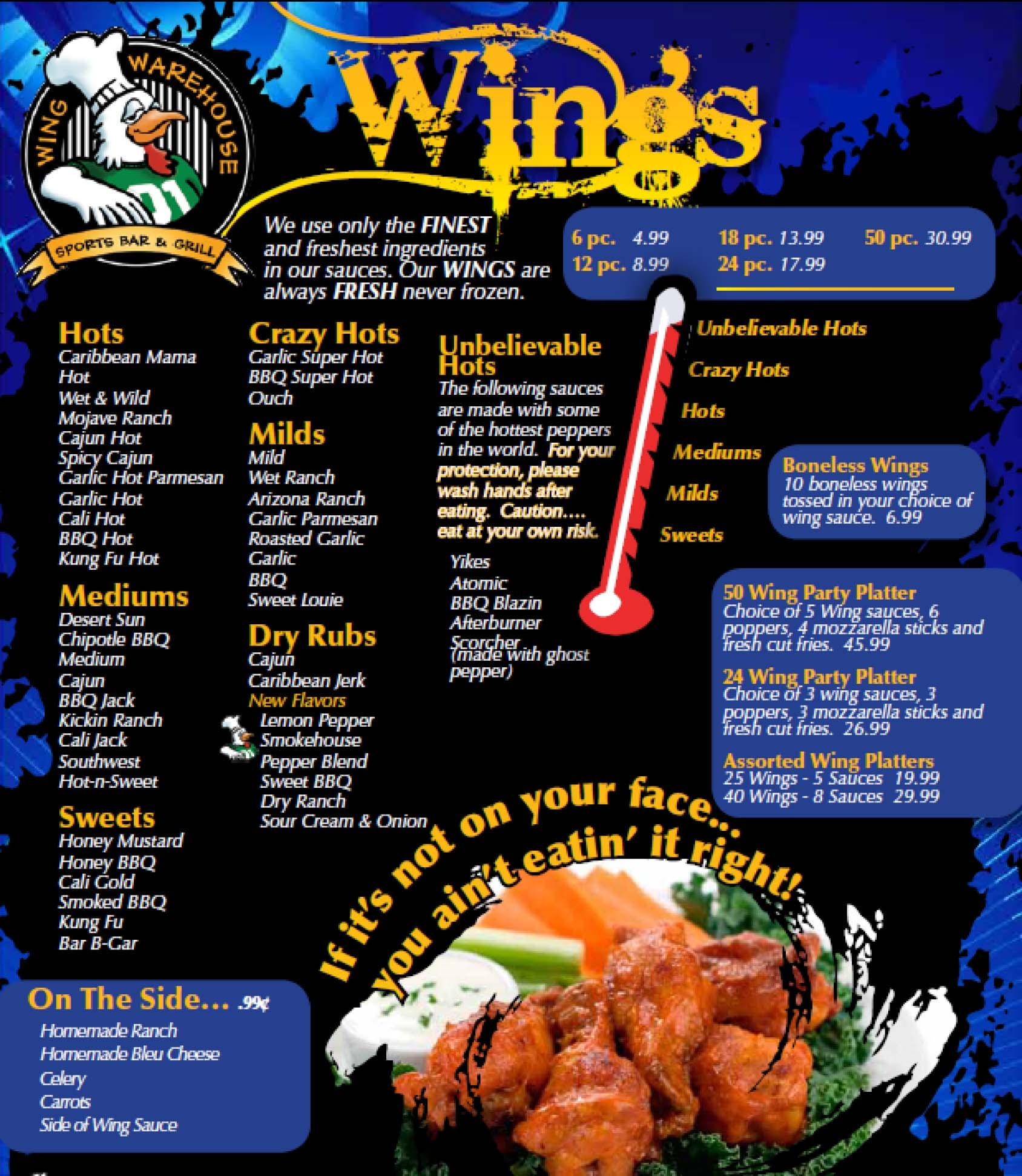 Chicken Wings Dinner Menu